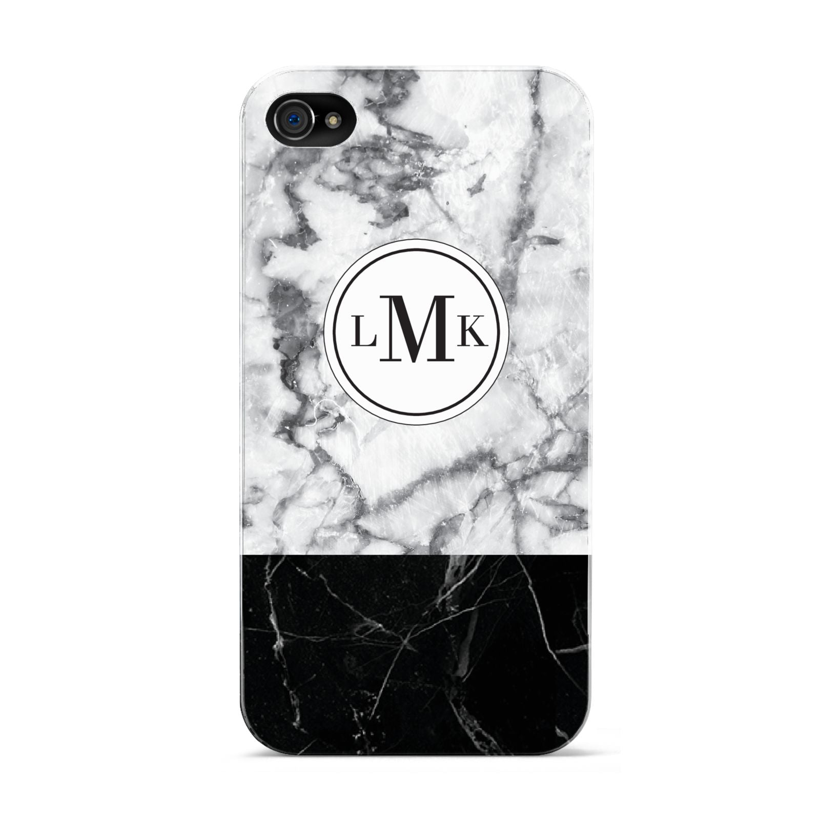 Geometric Marble Initials Personalised Apple iPhone 4s Case