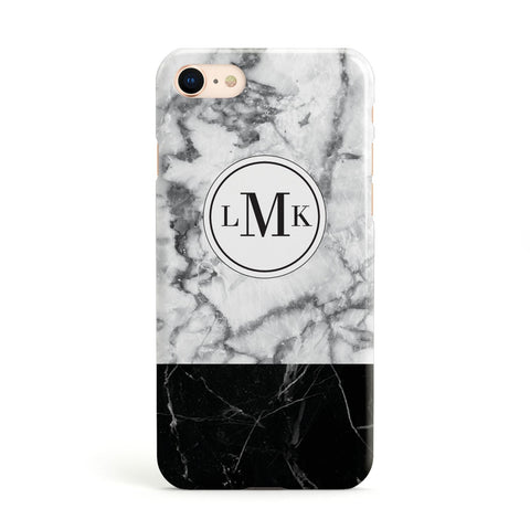 Geometric Marble Initials Personalised Apple iPhone Case