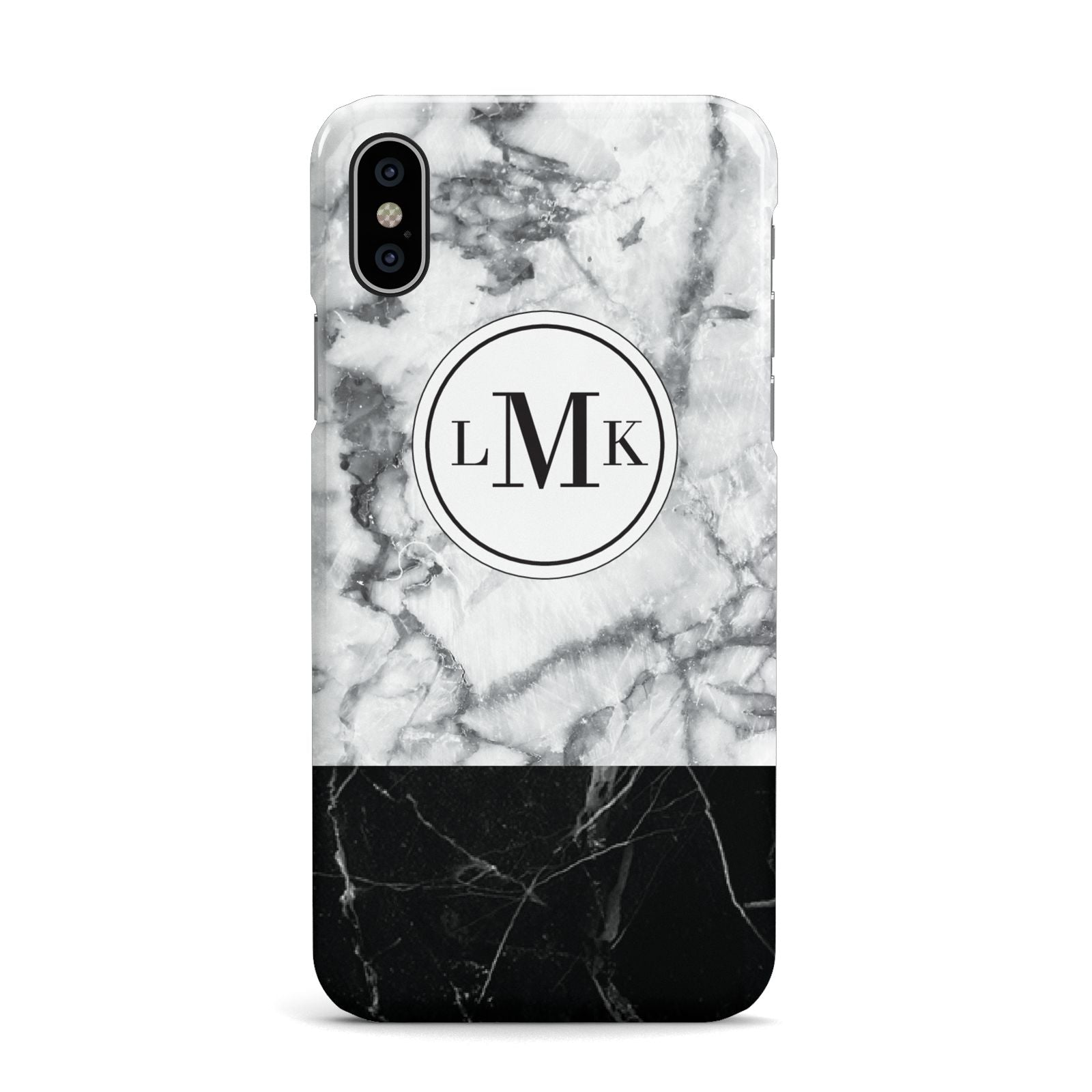 Geometric Marble Initials Personalised Apple iPhone X Case