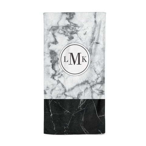 Geometric Marble Initials Personalised Beach Towel