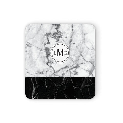 Geometric Marble Initials Personalised Coasters set of 4