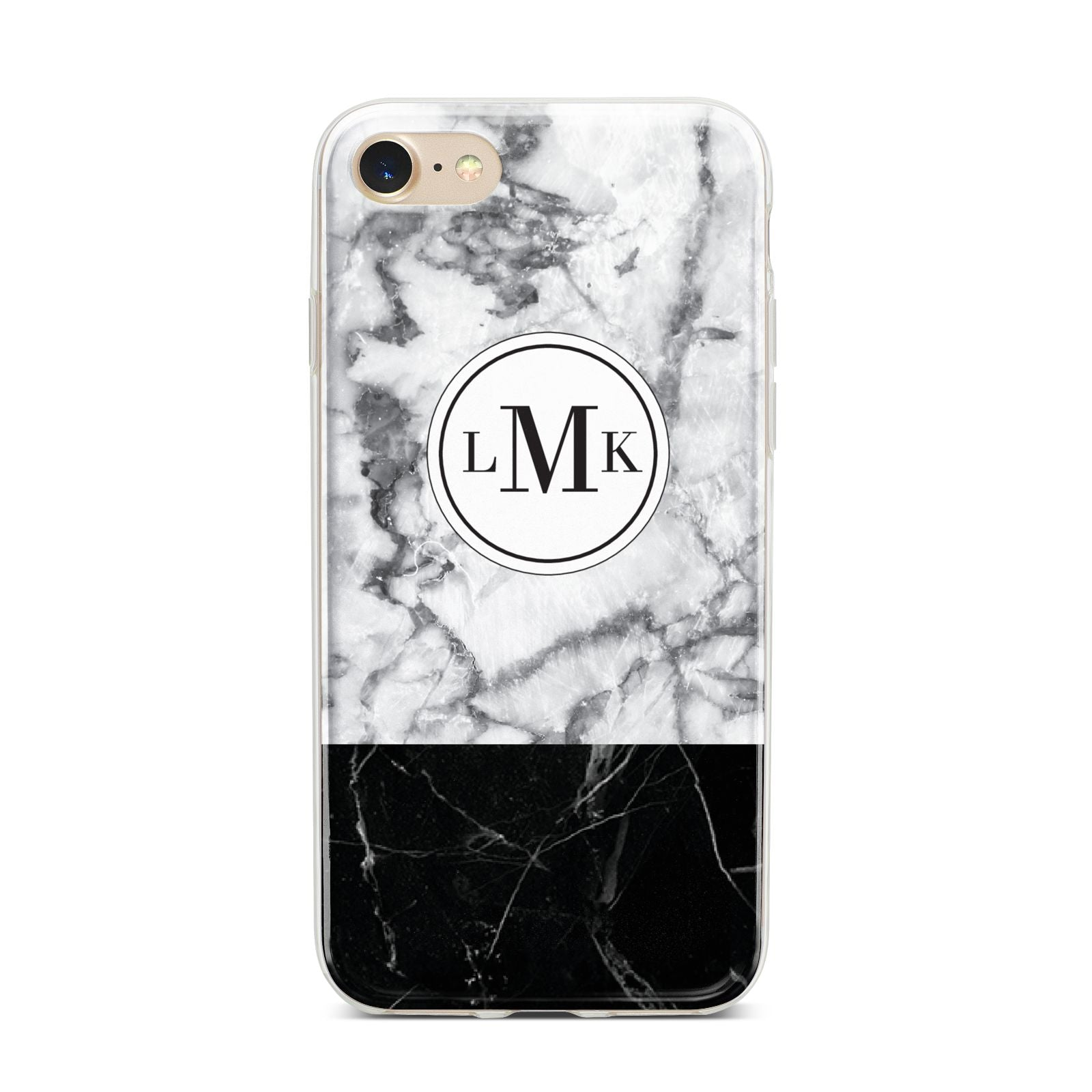 Geometric Marble Initials Personalised iPhone 7 Bumper Case on Gold iPhone