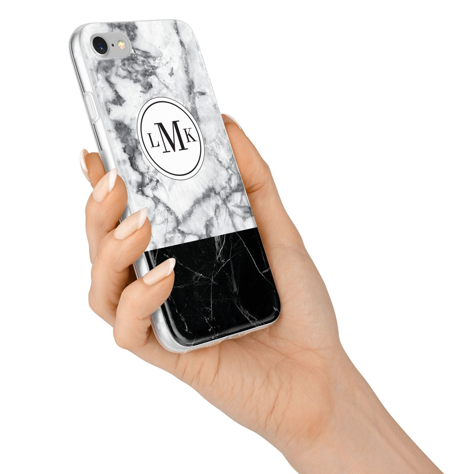 Geometric Marble Initials Personalised iPhone 7 Bumper Case on Silver iPhone Alternative Image