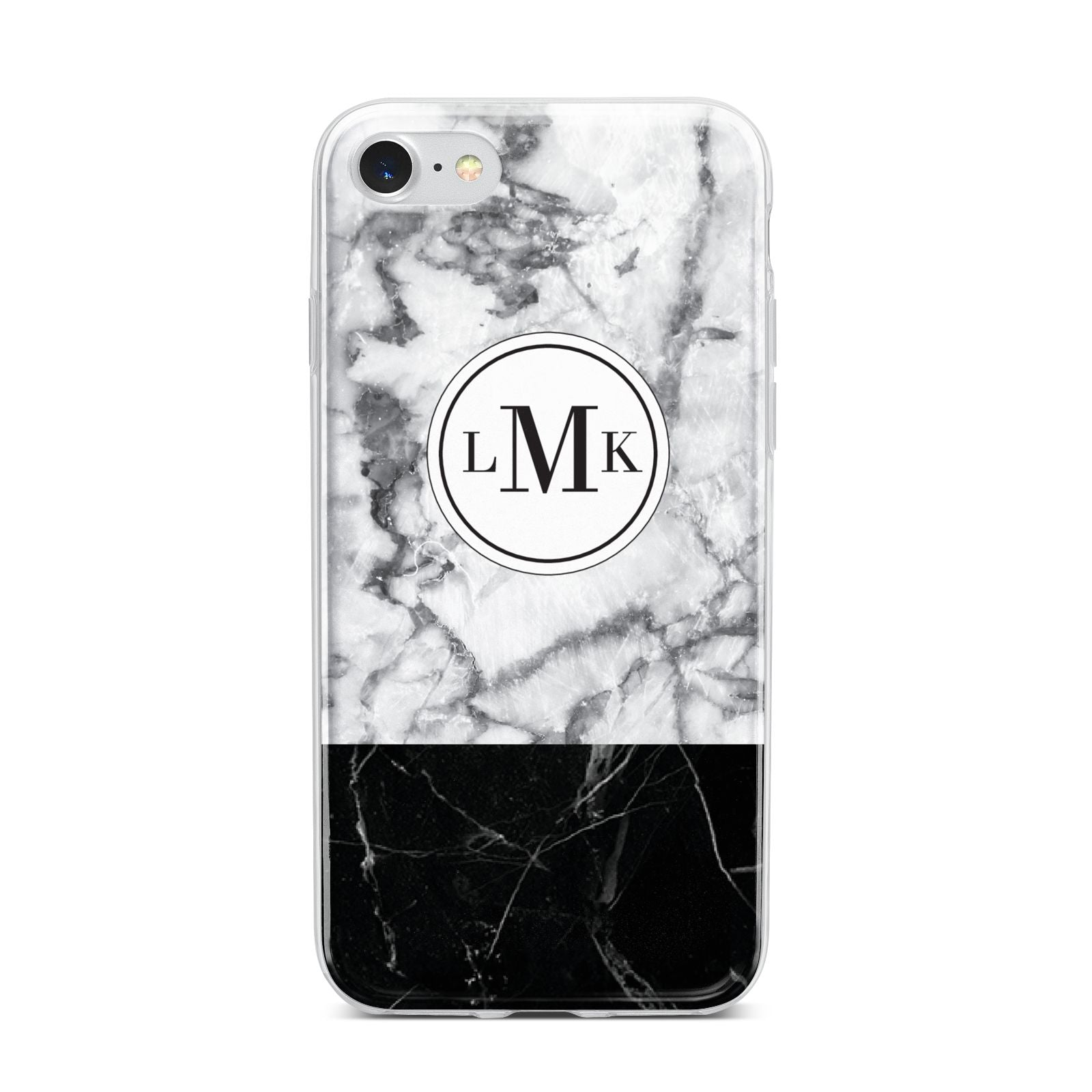 Geometric Marble Initials Personalised iPhone 7 Bumper Case on Silver iPhone