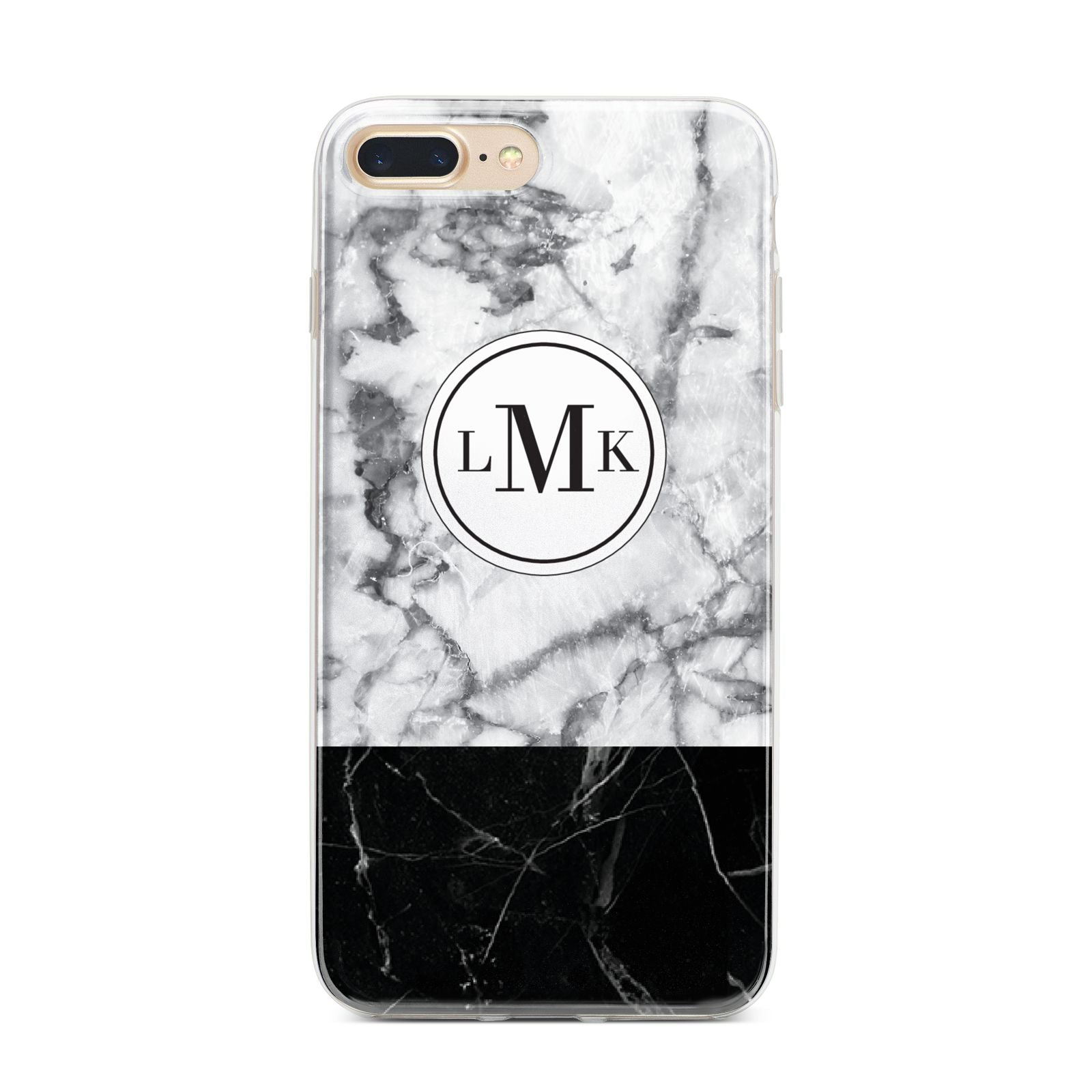 Geometric Marble Initials Personalised iPhone 7 Plus Bumper Case on Gold iPhone