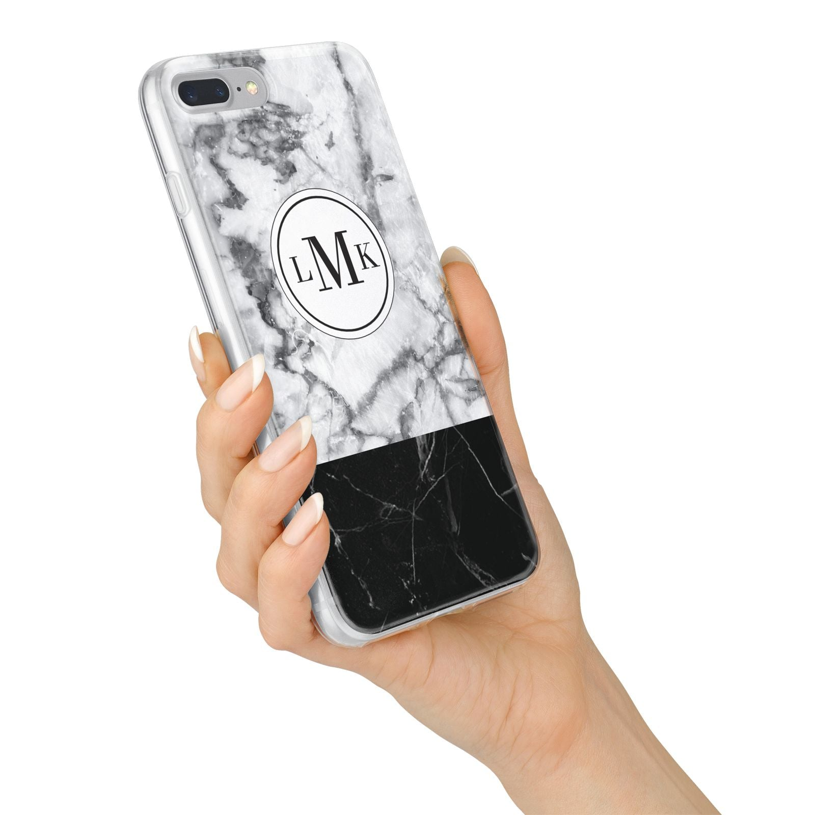 Geometric Marble Initials Personalised iPhone 7 Plus Bumper Case on Silver iPhone Alternative Image