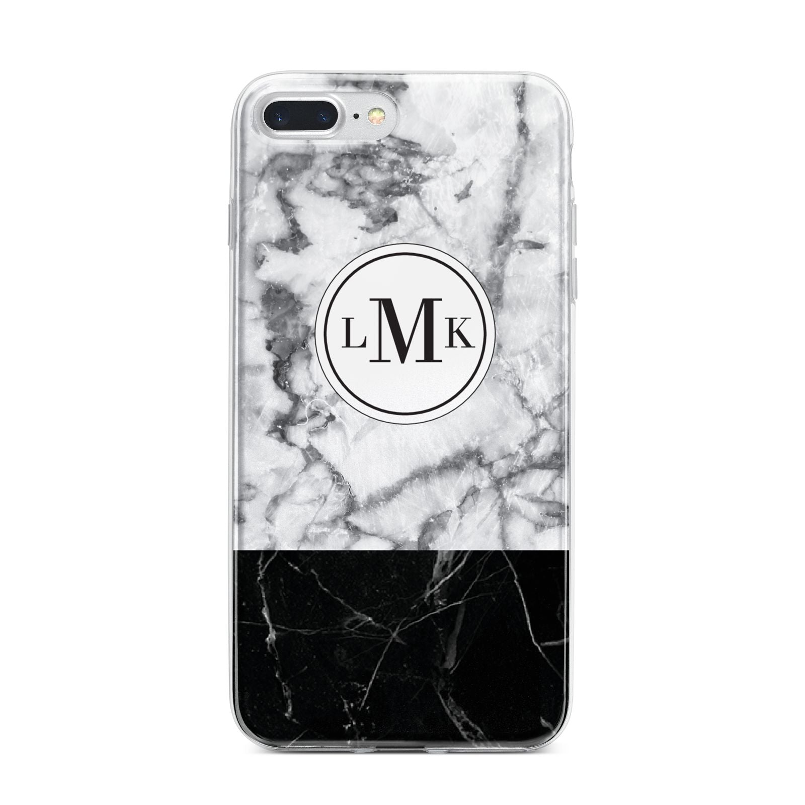 Geometric Marble Initials Personalised iPhone 7 Plus Bumper Case on Silver iPhone
