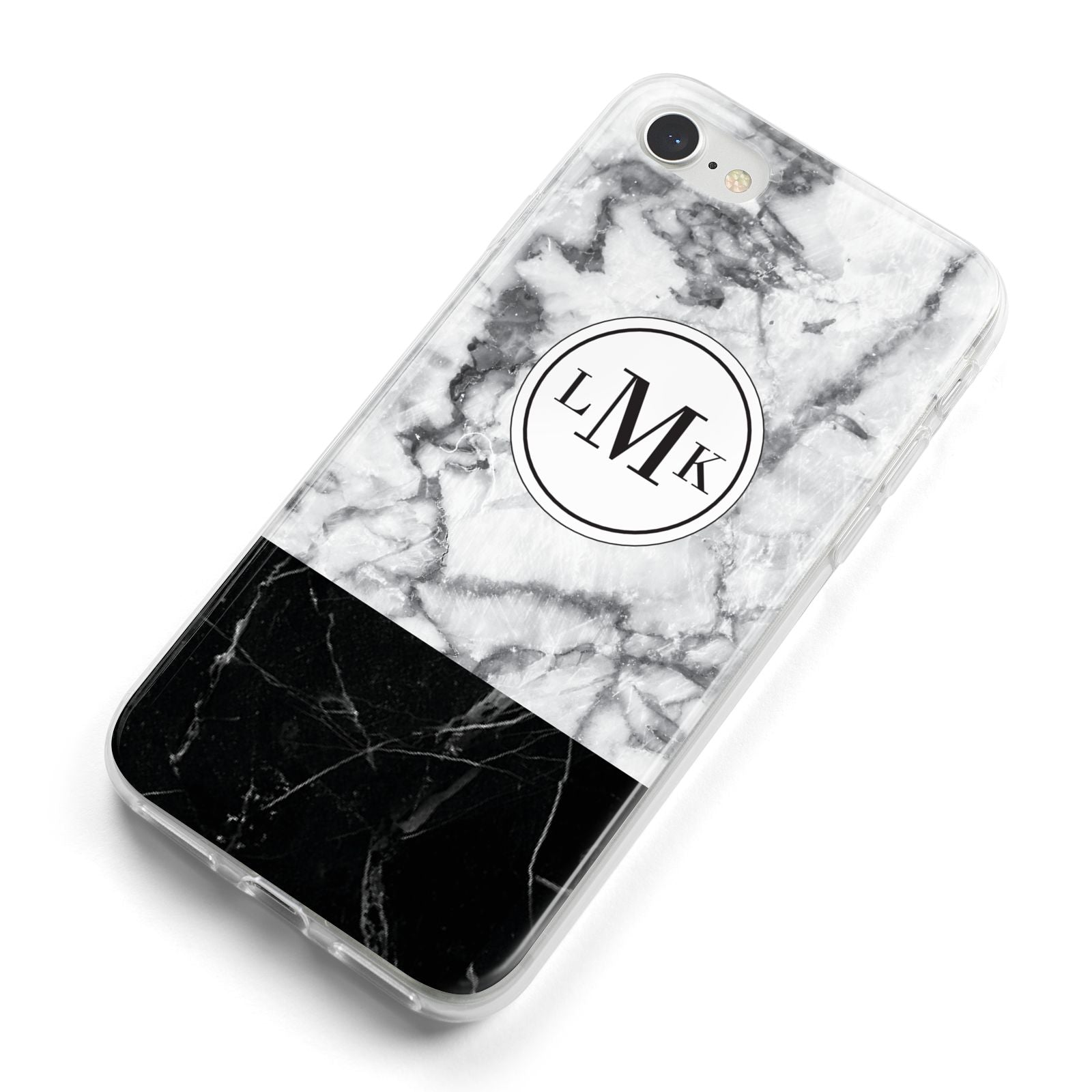 Geometric Marble Initials Personalised iPhone 8 Bumper Case on Silver iPhone Alternative Image