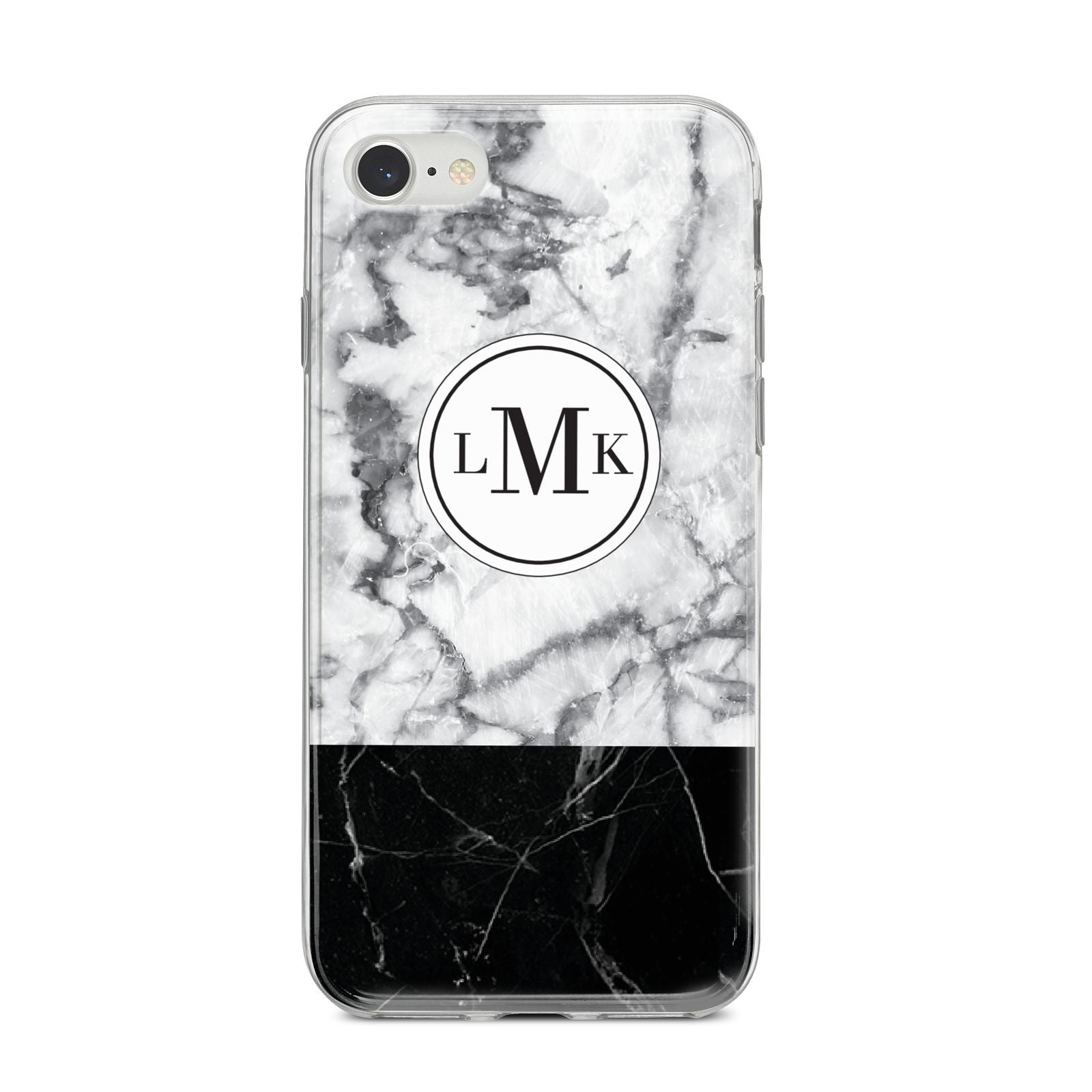 Geometric Marble Initials Personalised iPhone 8 Bumper Case on Silver iPhone