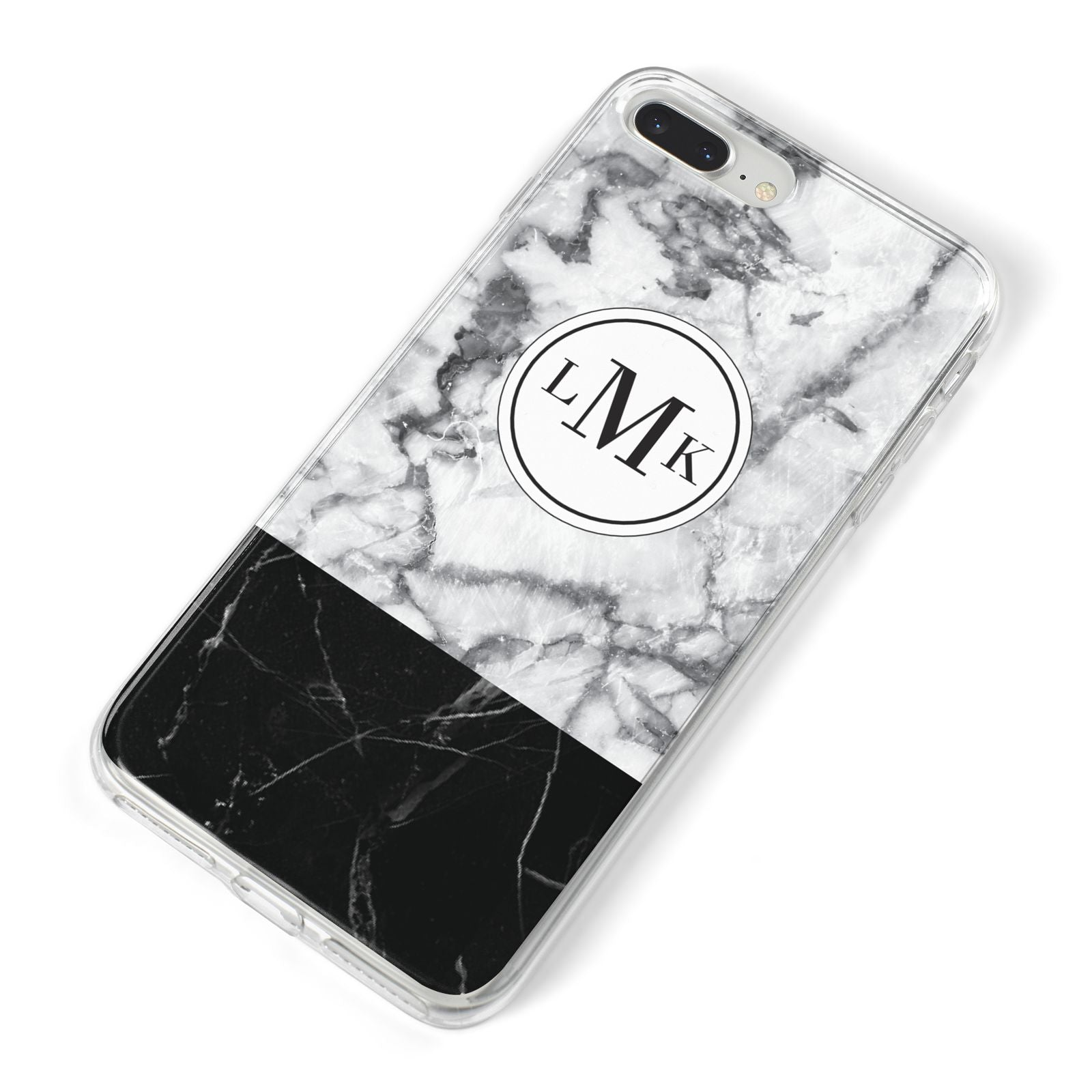Geometric Marble Initials Personalised iPhone 8 Plus Bumper Case on Silver iPhone Alternative Image