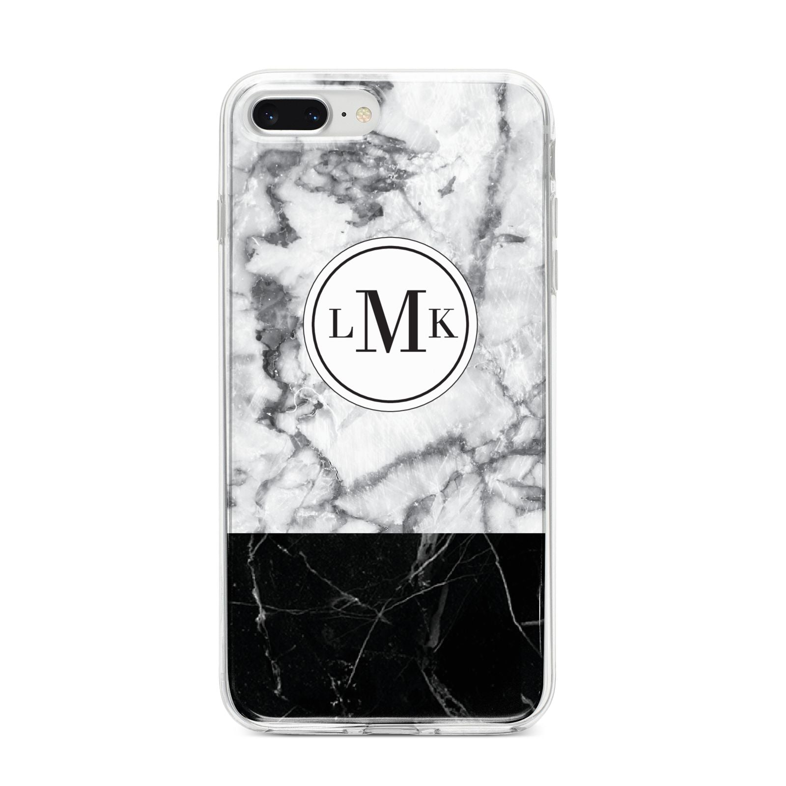 Geometric Marble Initials Personalised iPhone 8 Plus Bumper Case on Silver iPhone