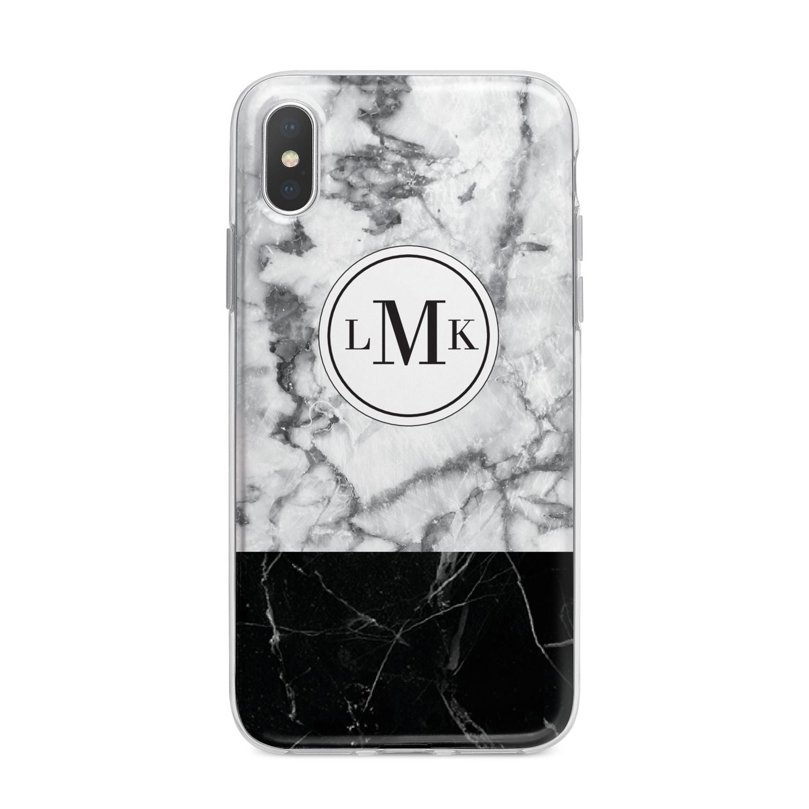 Geometric Marble Initials Personalised iPhone X Bumper Case on Silver iPhone Alternative Image 1