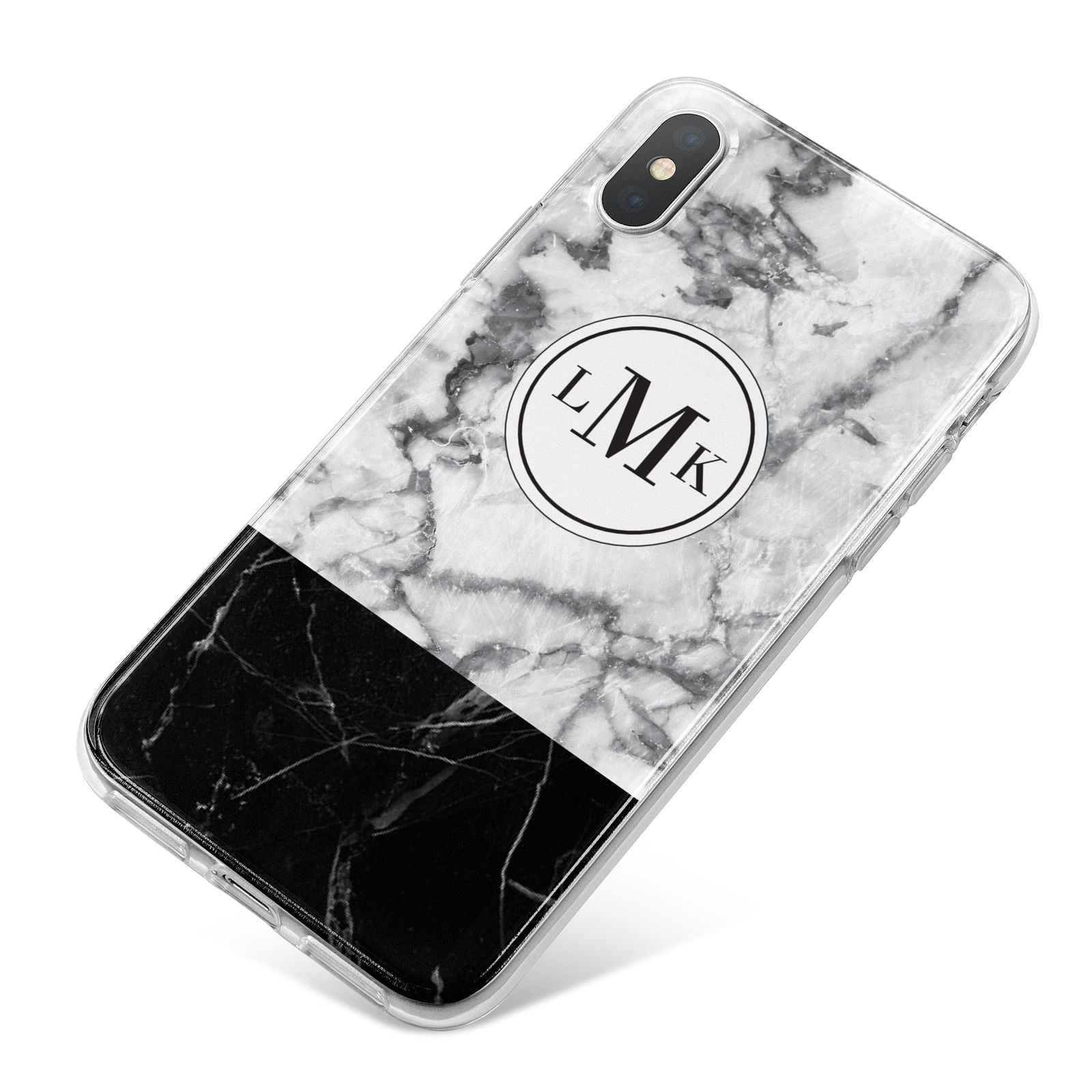 Geometric Marble Initials Personalised iPhone X Bumper Case on Silver iPhone