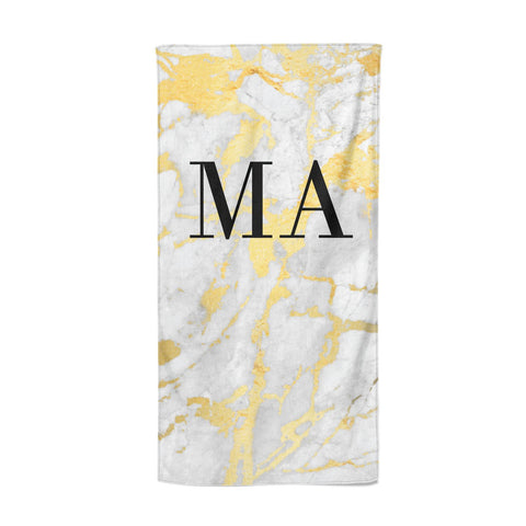 Gold Marble Custom Initials Beach Towel