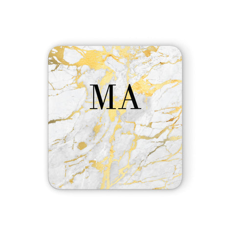 Gold Marble Custom Initials Coasters set of 4