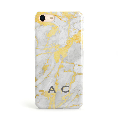 Gold Marble Initials Personalised Apple iPhone Case