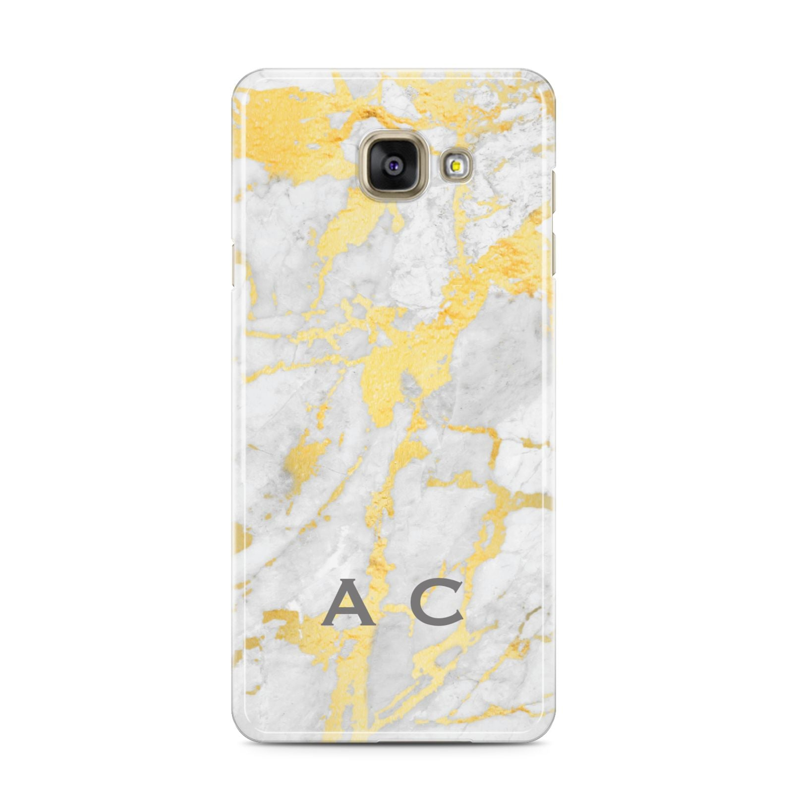 Gold Marble Initials Personalised Samsung Galaxy A3 2016 Case on gold phone