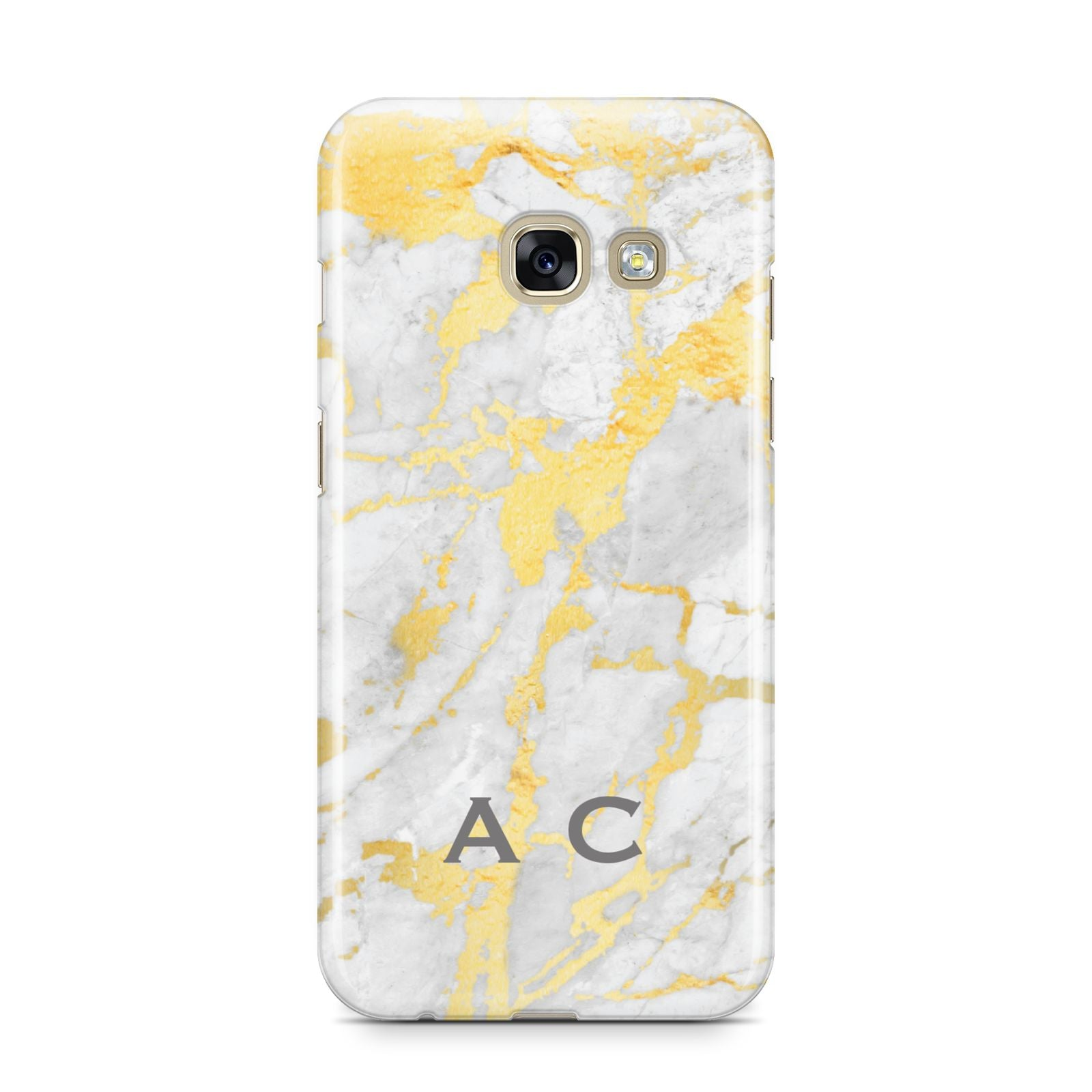 Gold Marble Initials Personalised Samsung Galaxy A3 2017 Case on gold phone