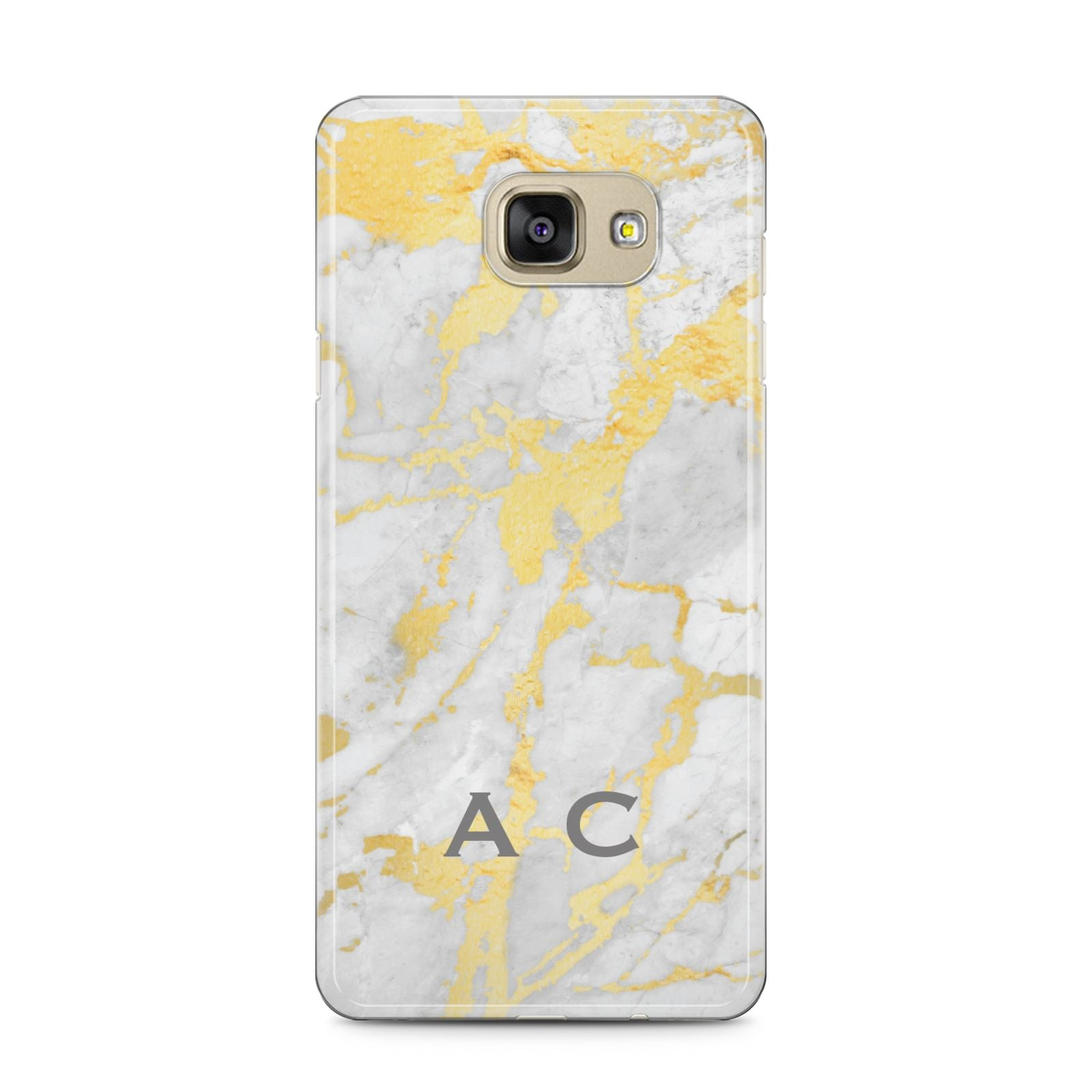 Gold Marble Initials Personalised Samsung Galaxy A5 2016 Case on gold phone