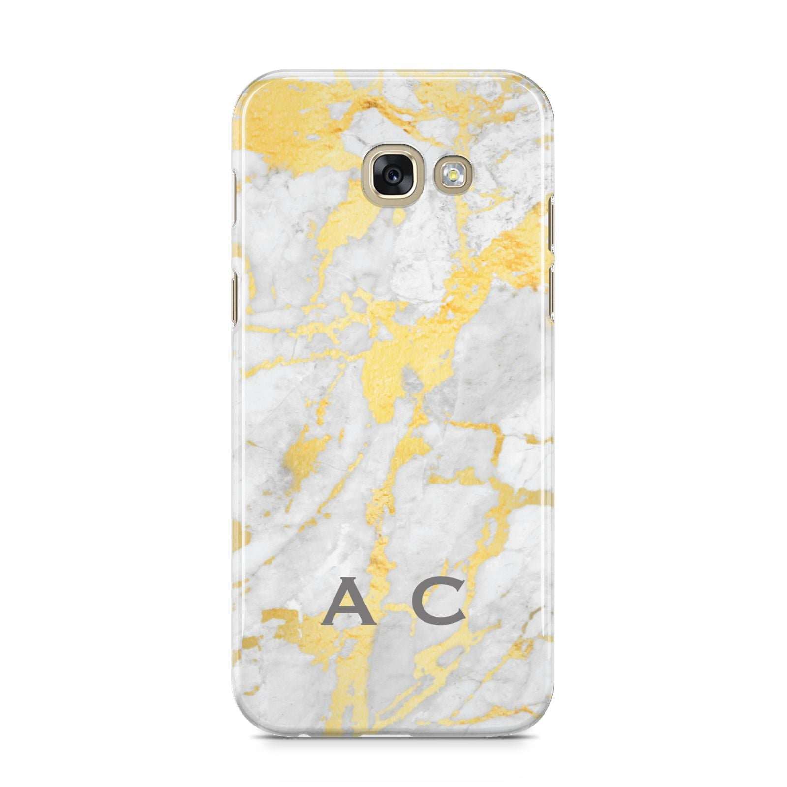 Gold Marble Initials Personalised Samsung Galaxy A5 2017 Case on gold phone