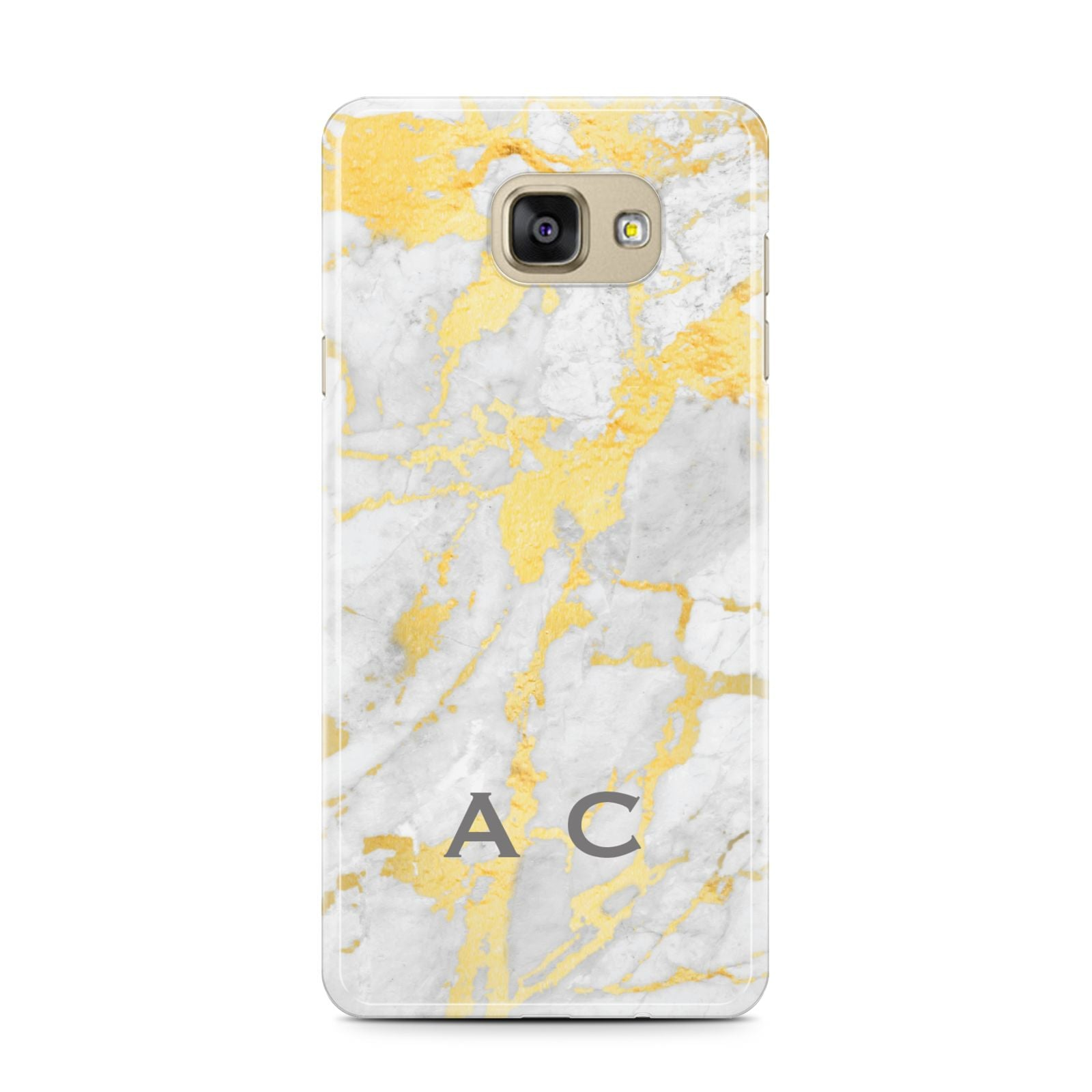 Gold Marble Initials Personalised Samsung Galaxy A7 2016 Case on gold phone