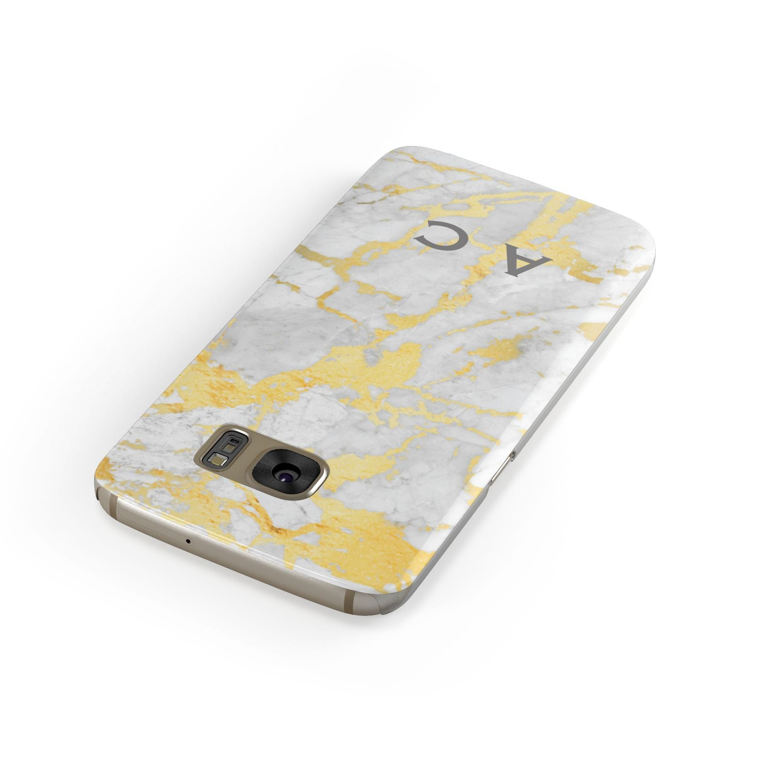 Gold Marble Initials Personalised Samsung Galaxy Case Front Close Up
