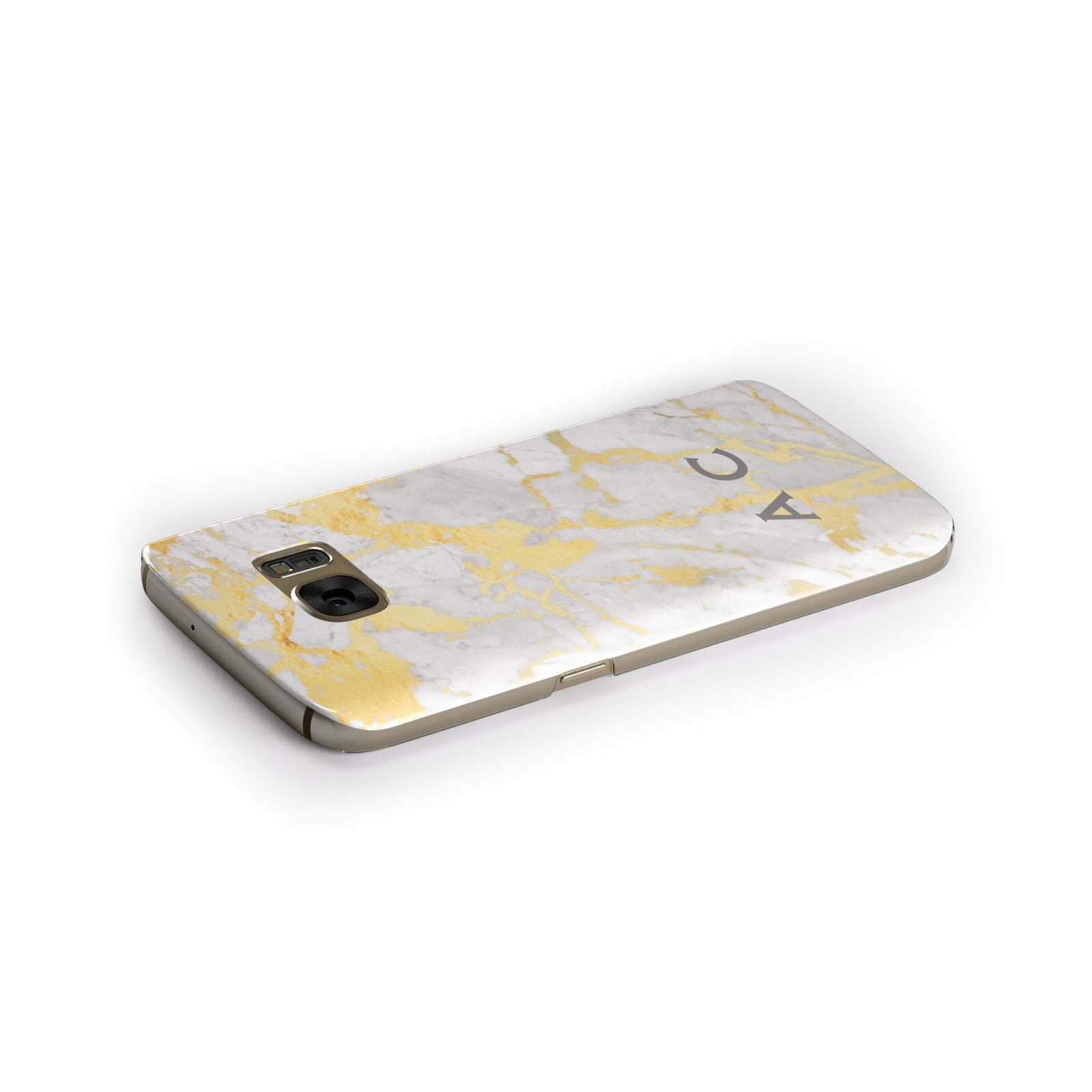 Gold Marble Initials Personalised Samsung Galaxy Case Side Close Up