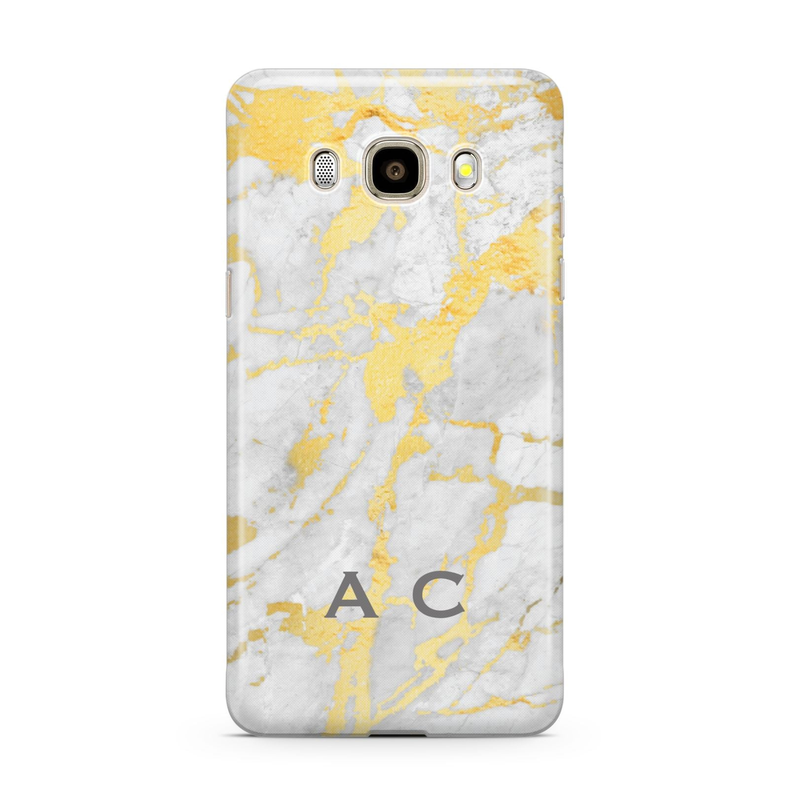 Gold Marble Initials Personalised Samsung Galaxy J7 2016 Case on gold phone