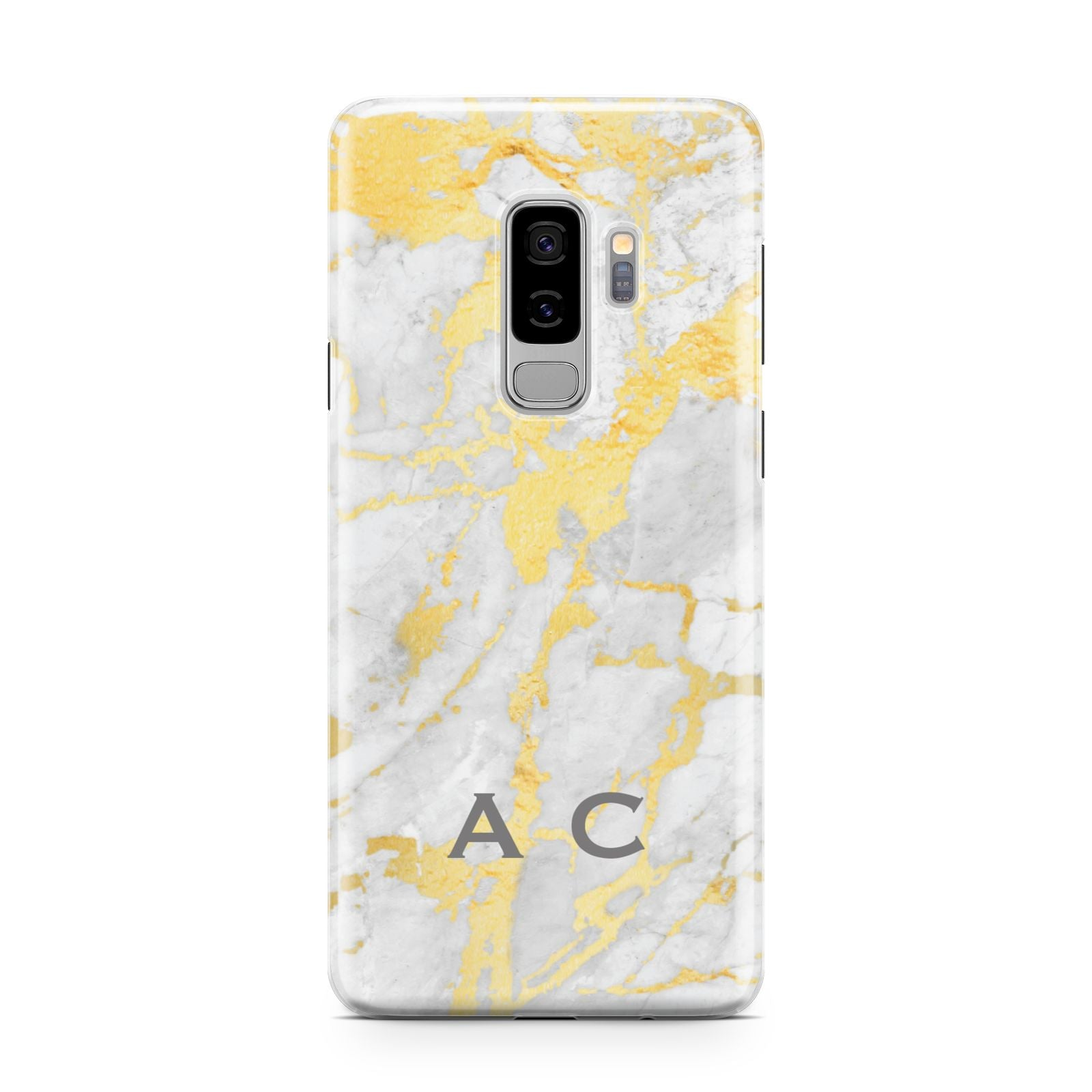 Gold Marble Initials Personalised Samsung Galaxy S9 Plus Case on Silver phone