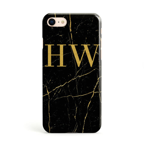 Gold Marble Monogram Personalised Apple iPhone Case