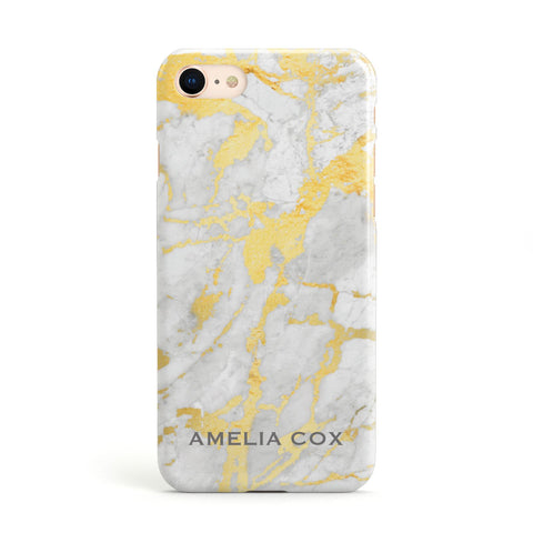 Gold Marble Name Personalised Apple iPhone Case