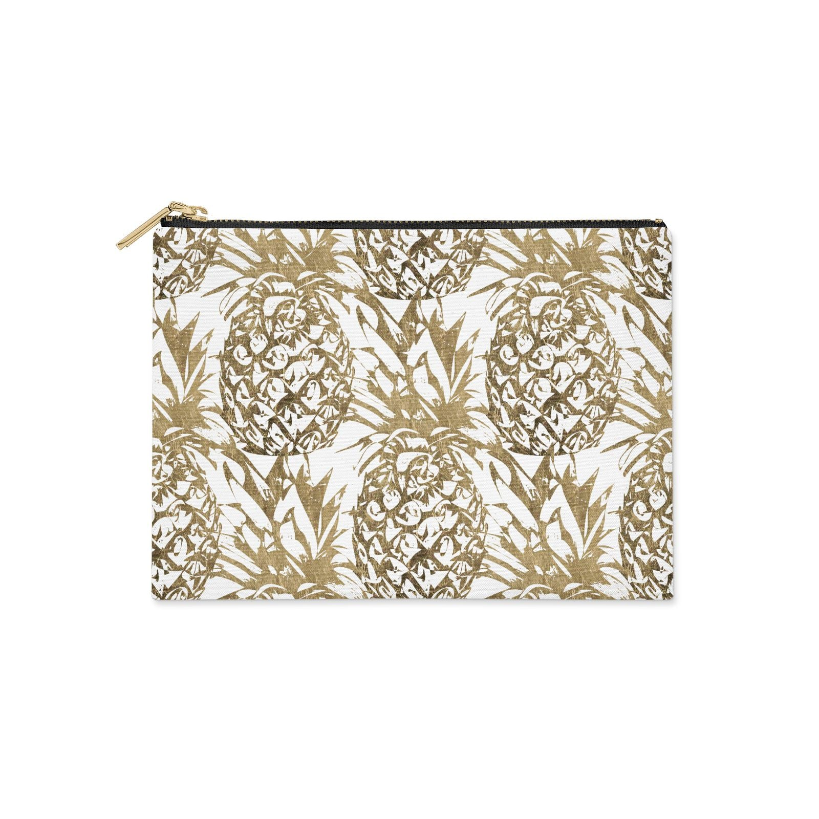 Gold Pineapple Fruit Clutch Bag Zipper Pouch