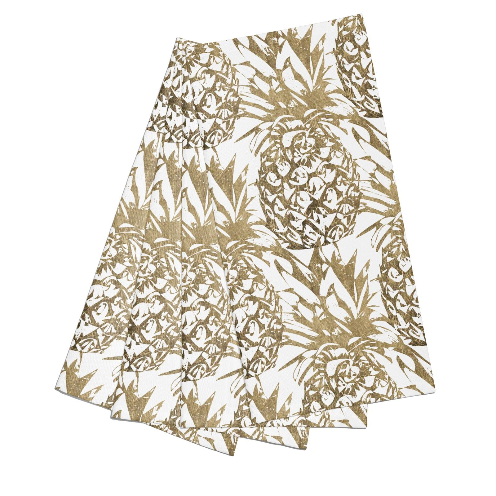 Gold Pineapple Fruit Cotton Napkins Set of 4