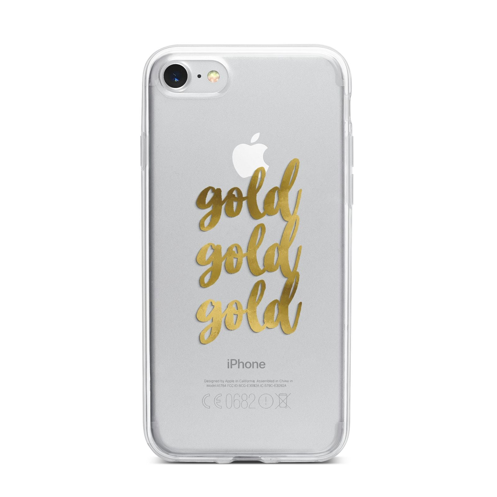 Gold Real Foiled iPhone 7 Bumper Case on Silver iPhone