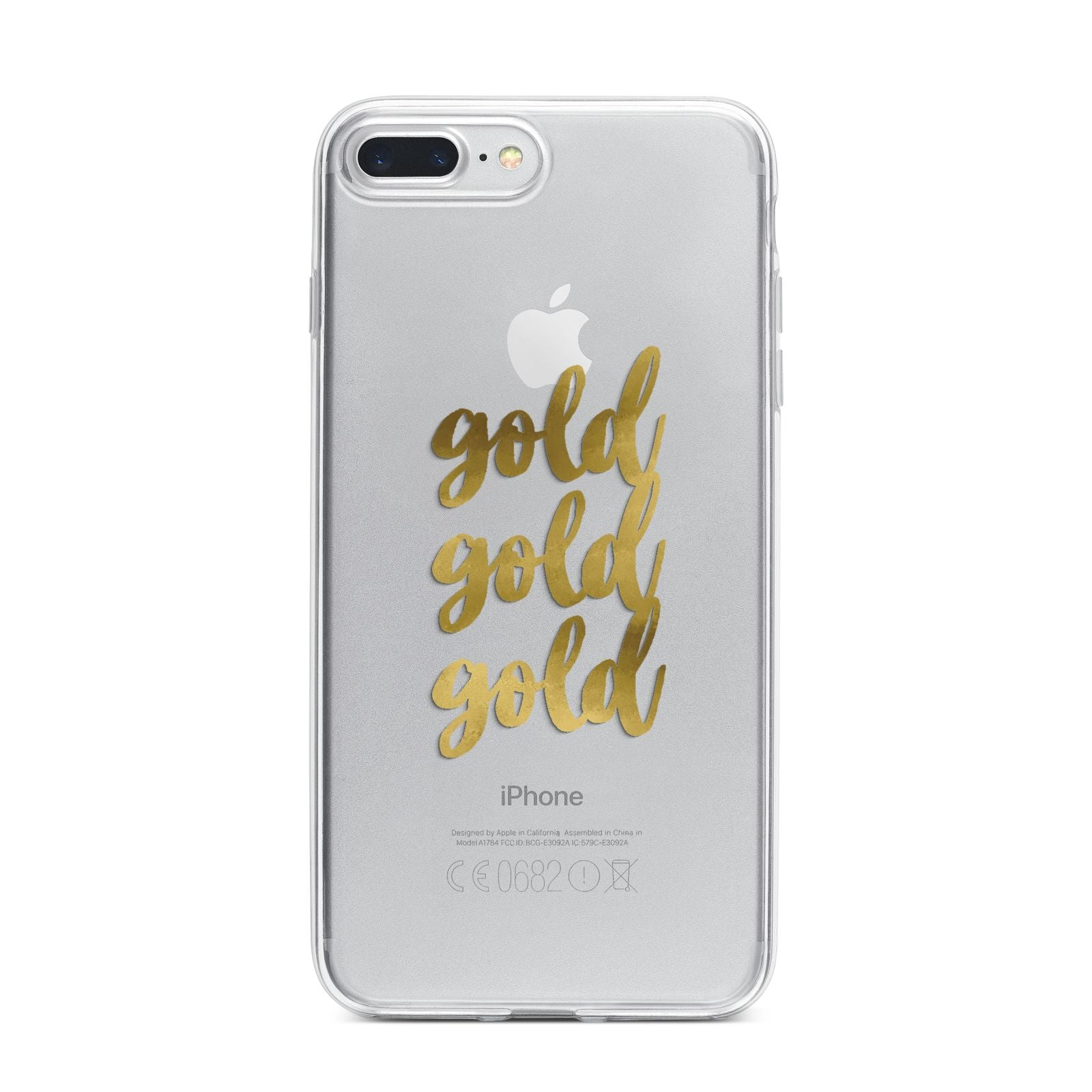 Gold Real Foiled iPhone 7 Plus Bumper Case on Silver iPhone