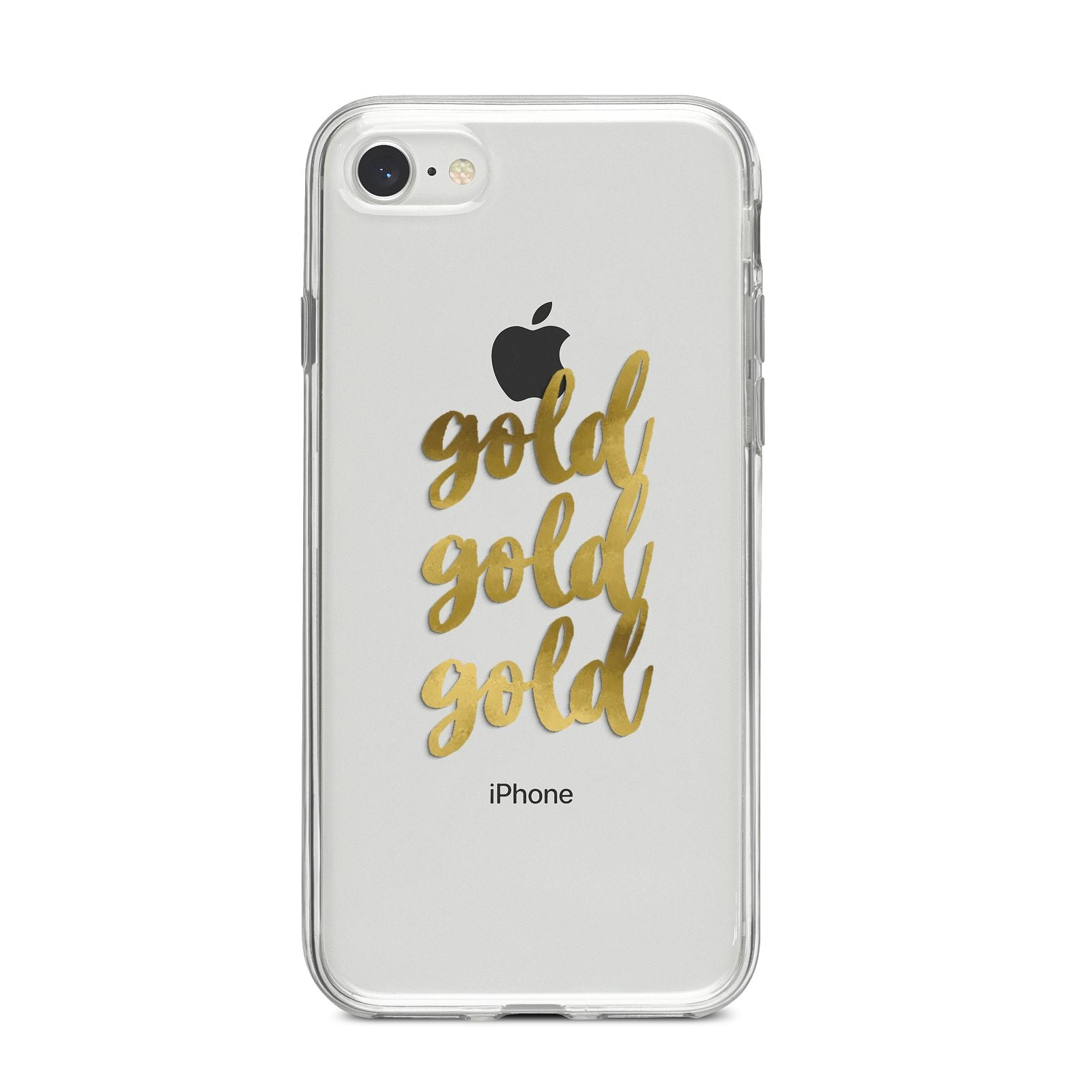 Gold Real Foiled iPhone 8 Bumper Case on Silver iPhone