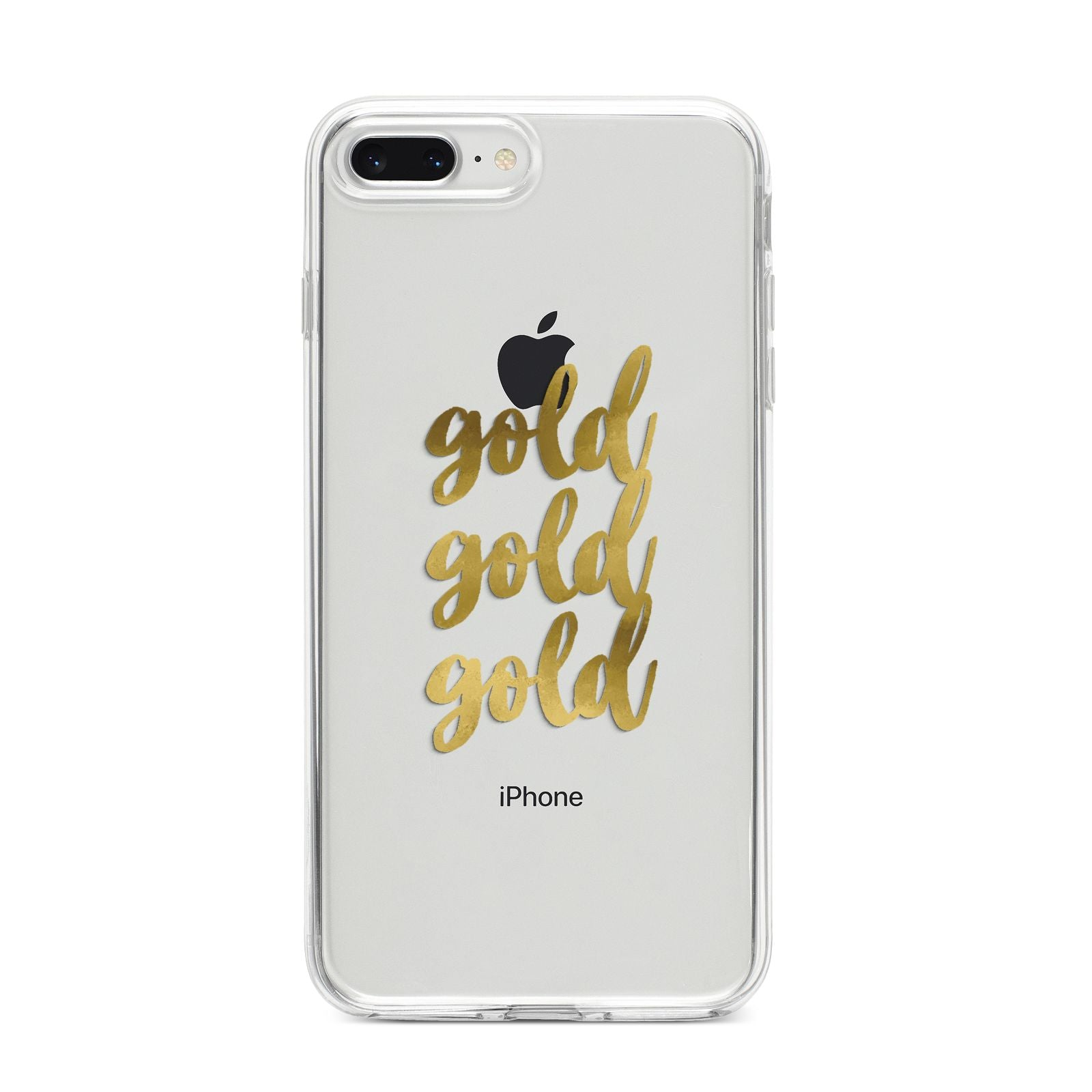 Gold Real Foiled iPhone 8 Plus Bumper Case on Silver iPhone