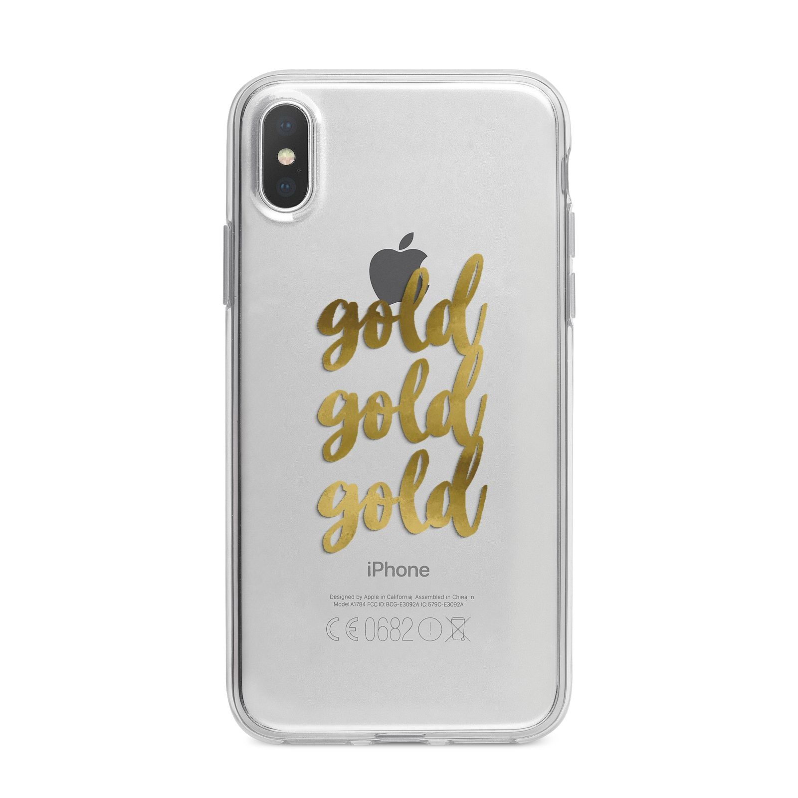 Gold Real Foiled iPhone X Bumper Case on Silver iPhone Alternative Image 1