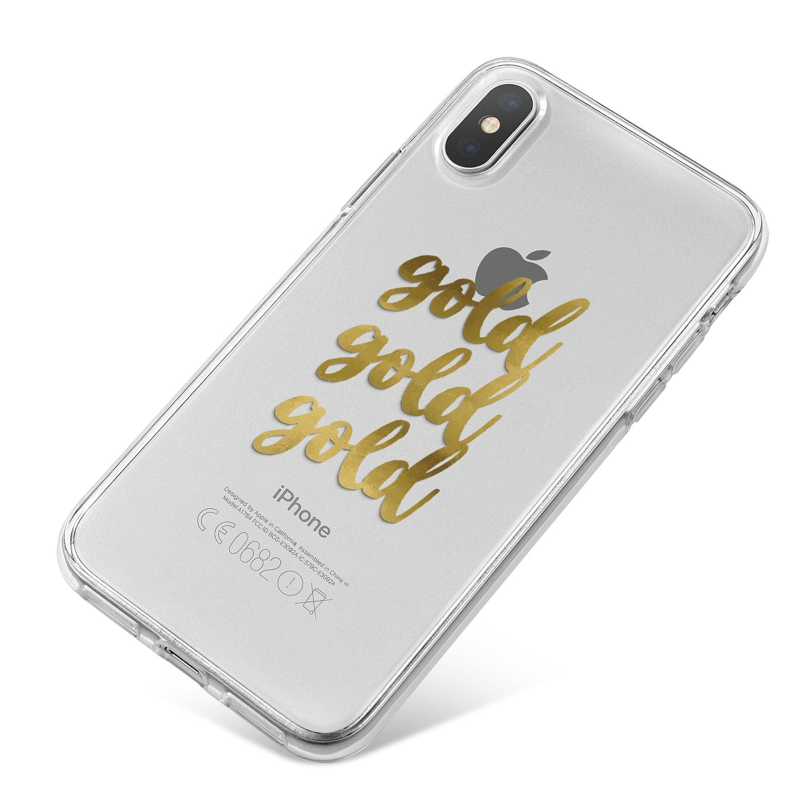 Gold Real Foiled iPhone X Bumper Case on Silver iPhone