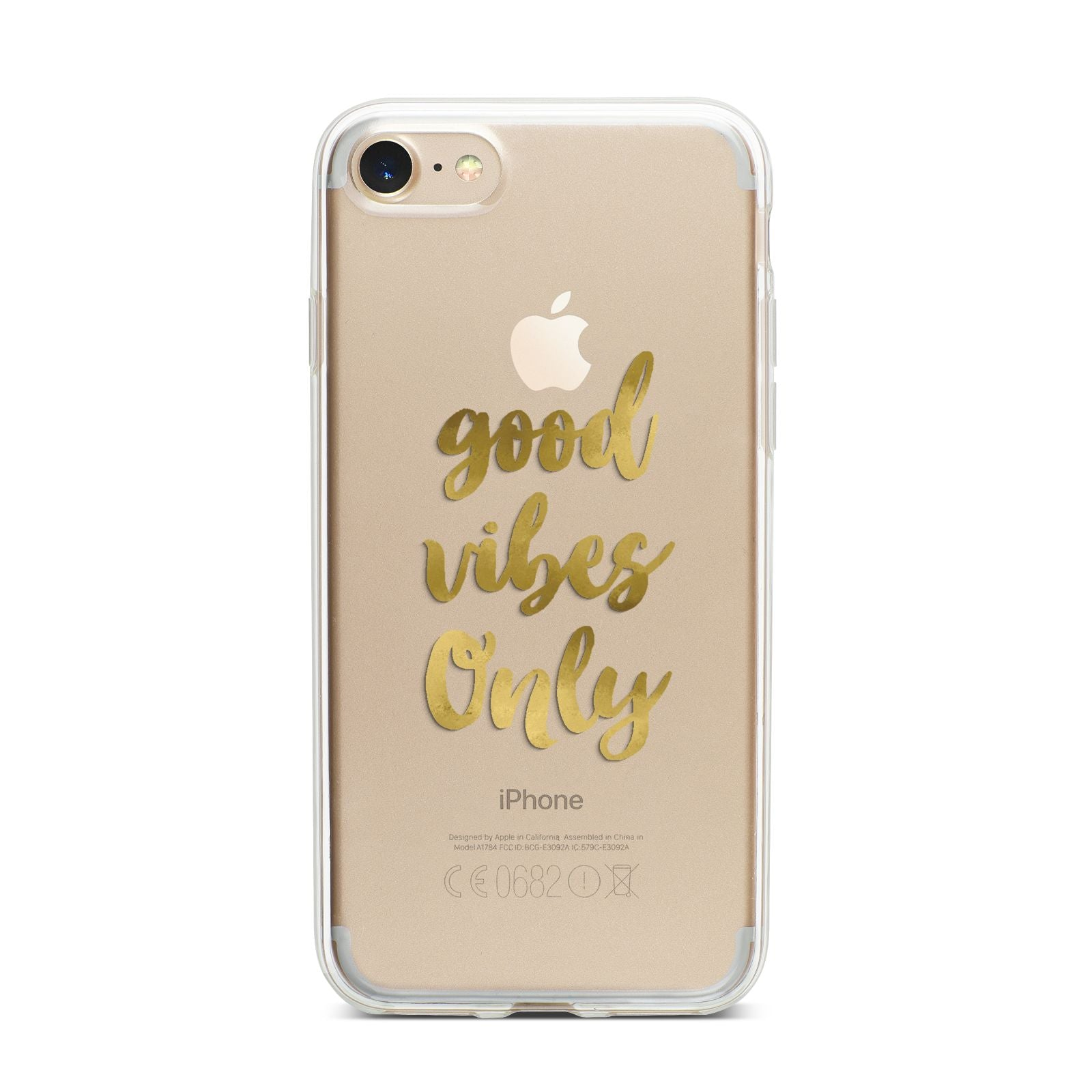 Good Vibes Only Gold Foiled iPhone 7 Bumper Case on Gold iPhone