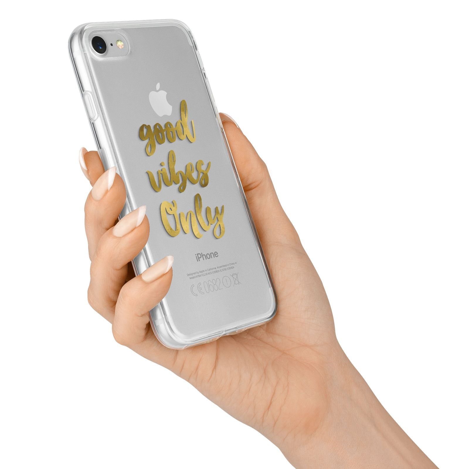 Good Vibes Only Gold Foiled iPhone 7 Bumper Case on Silver iPhone Alternative Image