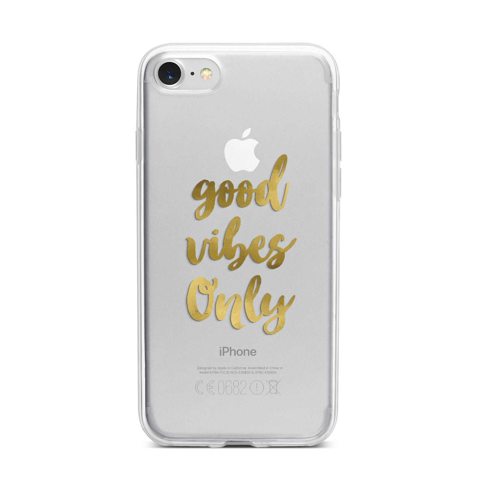 Good Vibes Only Gold Foiled iPhone 7 Bumper Case on Silver iPhone