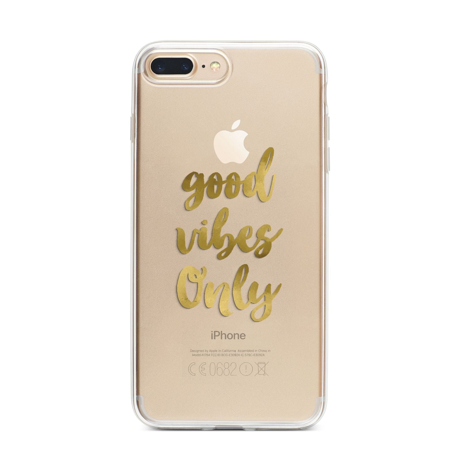 Good Vibes Only Gold Foiled iPhone 7 Plus Bumper Case on Gold iPhone