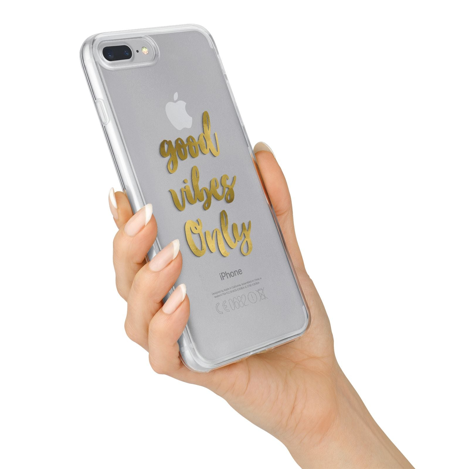 Good Vibes Only Gold Foiled iPhone 7 Plus Bumper Case on Silver iPhone Alternative Image