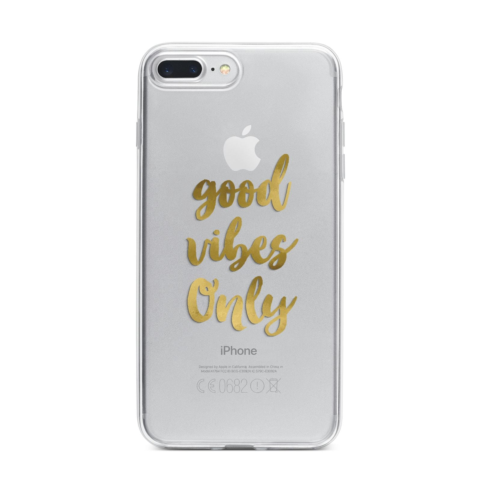 Good Vibes Only Gold Foiled iPhone 7 Plus Bumper Case on Silver iPhone