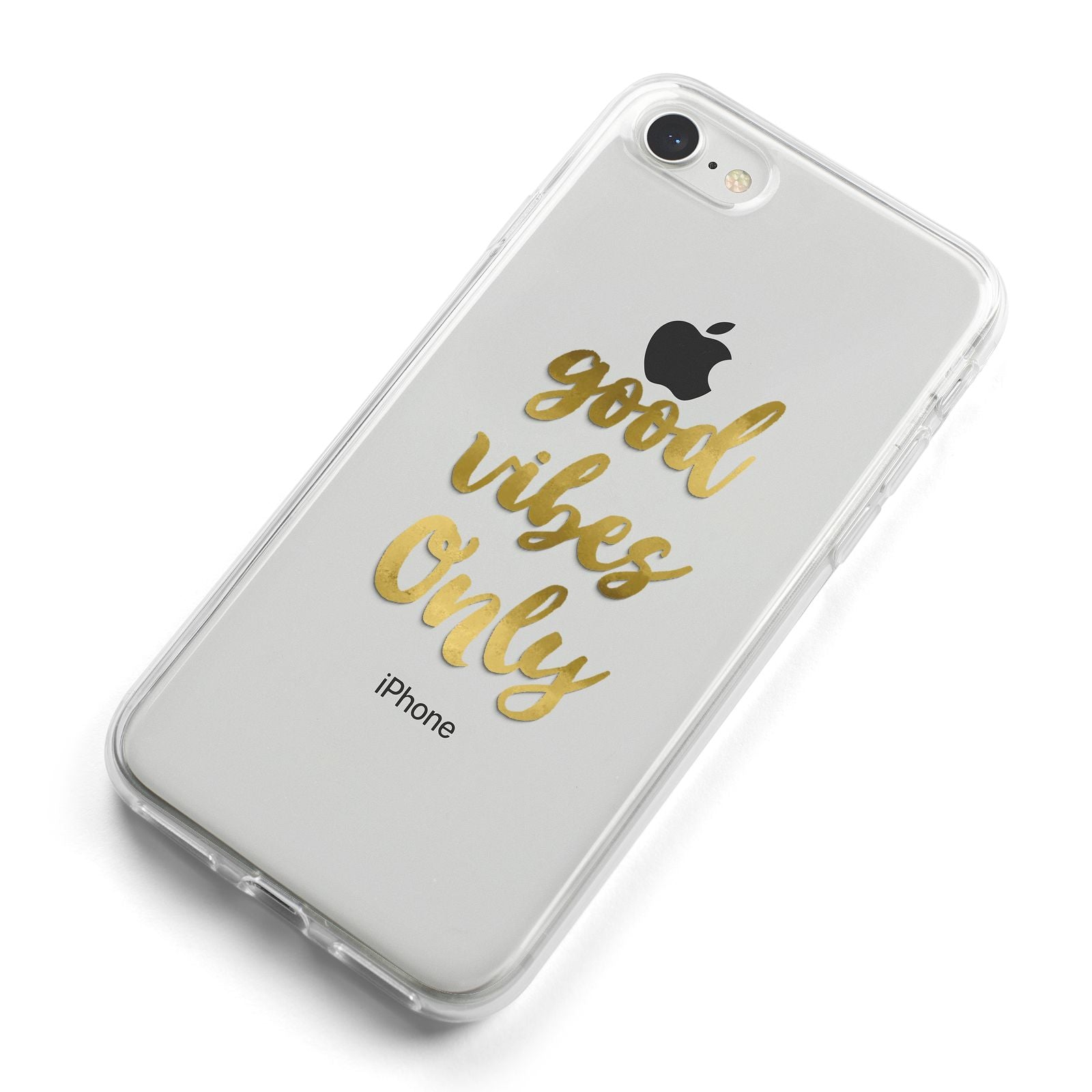 Good Vibes Only Gold Foiled iPhone 8 Bumper Case on Silver iPhone Alternative Image