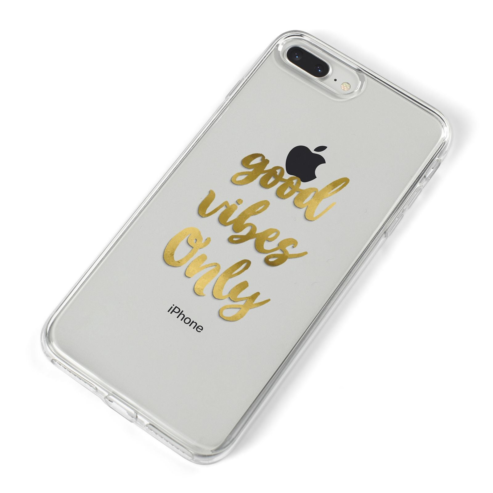 Good Vibes Only Gold Foiled iPhone 8 Plus Bumper Case on Silver iPhone Alternative Image