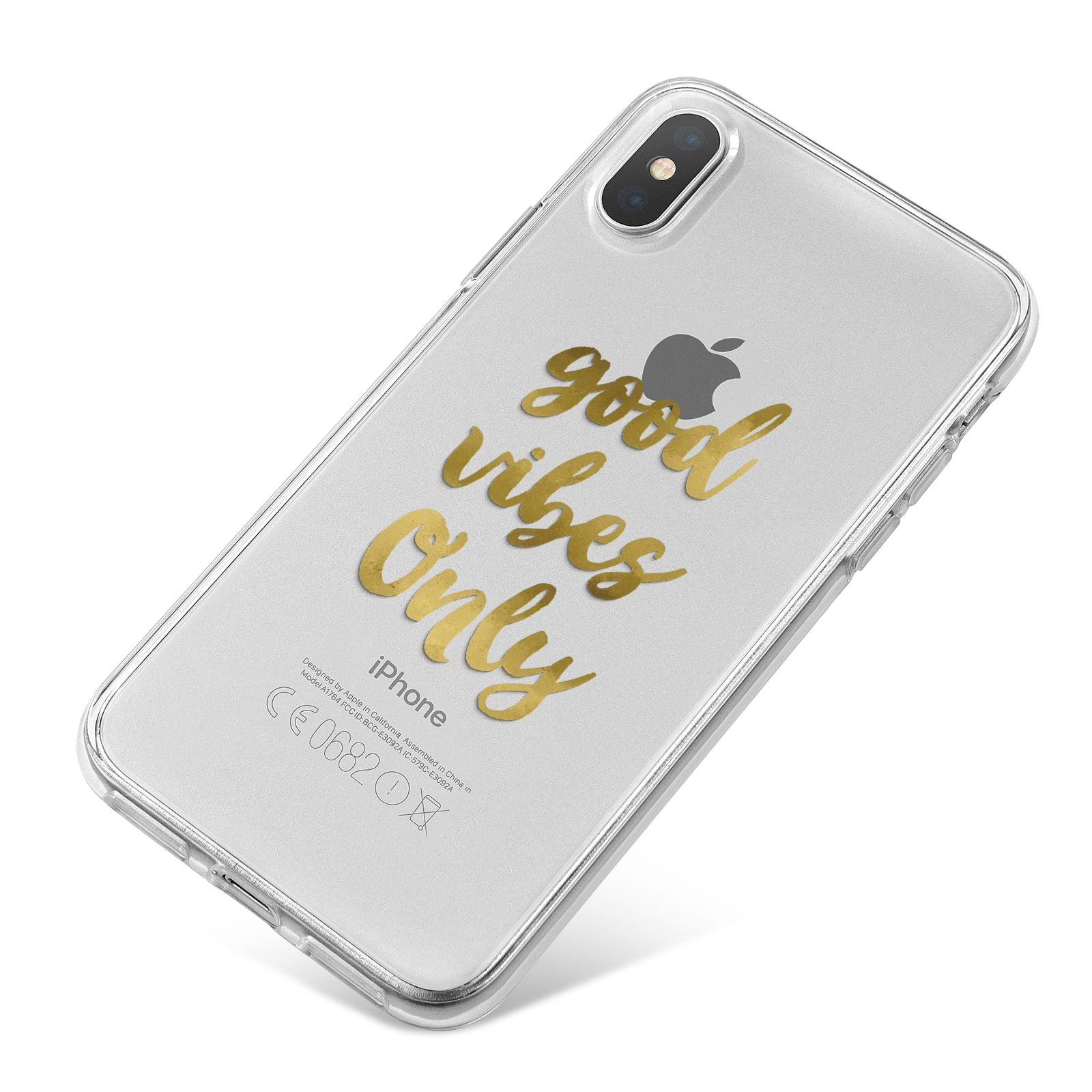 Good Vibes Only Gold Foiled iPhone X Bumper Case on Silver iPhone