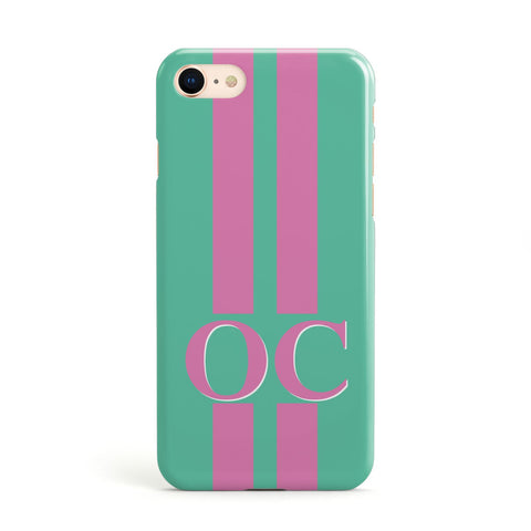 Green Personalised Initials Apple iPhone Case