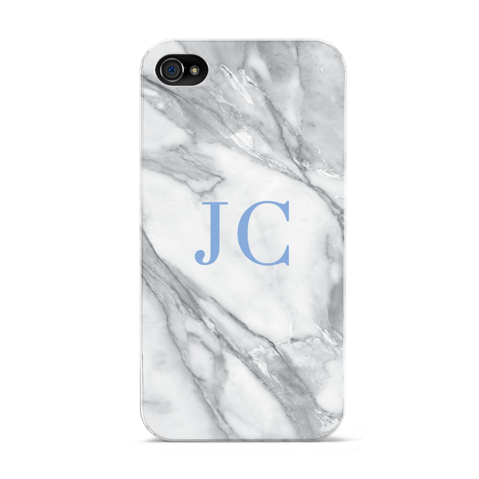 Grey Marble Blue Initials Apple iPhone 4s Case